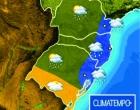 Frente fria traz chuvas e temperaturas mais baixas ao Litoral