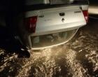 Criminosos capotam carro após atirarem contra funcionário de empresa de vigilância em Arroio do Sal