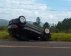 Motorista perde controle do veículo e capota na Estrada do Mar em Osório