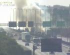 Incêndio às margens da Freeway atrapalha visibilidade de motoristas