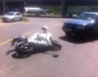 Acidente envolve moto e carro no centro de Osório