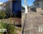 Calçada onde mato tomava conta é limpa no centro de Osório