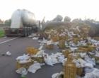 Caminhão com carga de mamão tomba na freeway