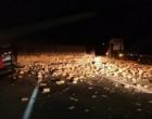 Acidentes envolvendo caminhões marcam a madrugada na Freeway