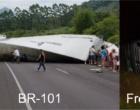 Carreta tomba na BR-101 e caminhão cegonha na Freeway