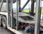 PRF flagra três passageiros no compartimento de carga de cegonheira na BR 101