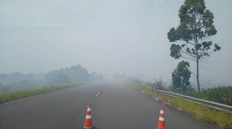 Estrada do Mar volta a ser bloqueada por conta de incêndio às margens da rodovia